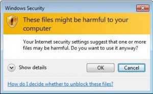Windows warning for remote files.